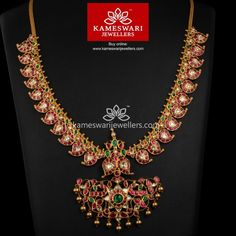 Buy Necklaces Online | Traditional Uncut Ruby Mangomala from Kameswari Jewellers Gold Wedding Jewelry, Bridal Jewelry, Gold Jewelry, Mango Mala Jewellery, Half Saree Designs, Blouse Designs, Gold Models, Ruby Necklace, India Jewelry