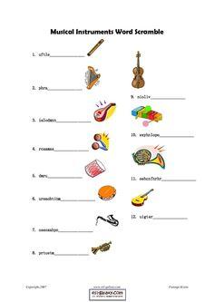 Musical Instruments Word Scramble Lesson Plan | Lesson Planet