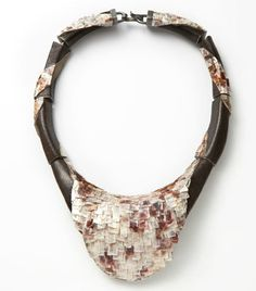 Necklace | Terhi Tolvanen.  'The Wave'  Mother of pearl, cherry, cement and silver