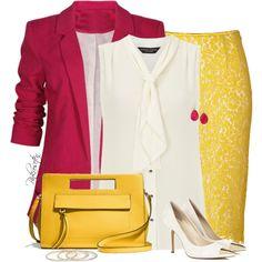 """""""Yellow Lace Skirt"""" by pinkroseten on Polyvore"""
