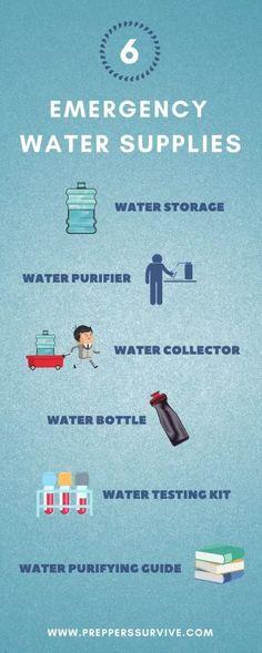 6 Emergency Water Supplies You Should Have! Survival Supplies, Survival Prepping, Survival Gear, Survival Skills, Emergency Preparation, Hurricane Preparedness, Disaster Preparedness, Emergency Water, Safe Drinking Water