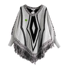 Women Poncho Cape Pullover Sweater Loose Fit Tassel Light Gray