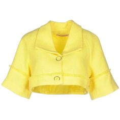 Fornarina Blazer ($100) ❤ liked on Polyvore featuring outerwear, jackets, blazers, yellow, fornarina, yellow jacket, logo jackets, short-sleeve blazers and tweed jacket