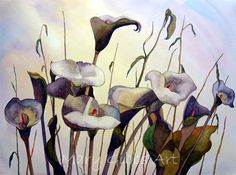 callas in the wind by Mary Gibbs D Flowers, Silk Painting, Calla Lily, Botanical Art, Art Techniques, Watercolor Flowers, Flower Art, Arts And Crafts, Mary