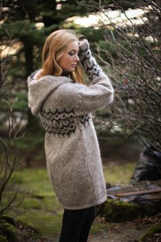 Icelandic design sweater by LOPIA on Etsy Girly Outfits, Stylish Outfits, Fashion Outfits, Icelandic Sweaters, Wool Sweaters, Jacket Pattern, Wool Cardigan, Long Jackets, Beautiful Outfits
