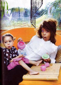 Erykah Badu and daughter.