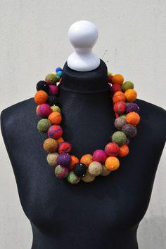 Felted necklace, fibre art, gift, beads, glass beads, satin ribbon AleksandrabWiniarska on etsy
