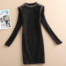 2017 mulheres novo estilo de vestidos sólidos vestido de renda vestido ocasional escritório vestido preto vestidos de festa manga comprida outono mais tamanho