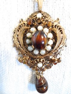 Vintage Victorian Revival Filigree Tigers Eye Art Glass and