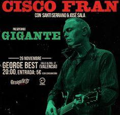Cisco Fran presentará 'Gigante' en el George Best Club http://www.woodyjagger.com/2016/11/cisco-fran-presentacion-gigante-george-best.html