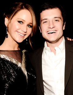 Jennifer Lawrence and Josh Hutcherson. They look so happy in this picture. I love it.