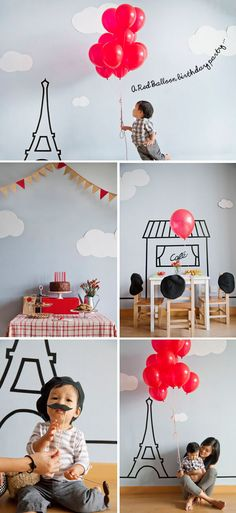 Paris themed birthday party.....red and black as main colour choices, then add decoration of bunches of red balloons and cafe style seating...Voila!