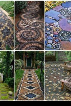 Rock mosaic walkways and patios