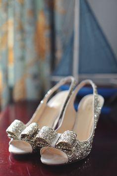 silver glitter heels from Kate Spade