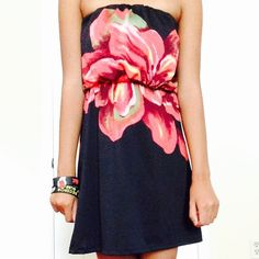 Black Strapless Dress with Pink Flower Pattern Black Strapless Dress with Pink Flower Pattern with Stretchy Waistband and Top from Charlotte Russe Charlotte Russe Dresses Strapless