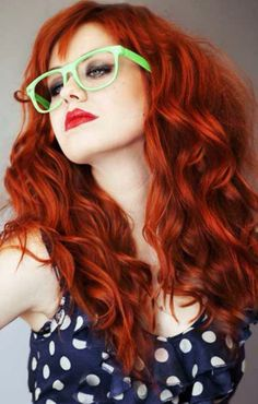 Bright red long wavy hair with bangs