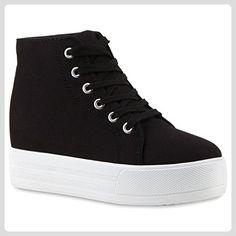 c316a5c0d5b Damen Sneakers Plateau Sneaker High Plateau Zipper Schnürer Keilabsatz  Sneaker Wedges Leder-Optik Schuhe 114066 Schwarz Schwarz 40 Flandell® -  Sneakers für ...