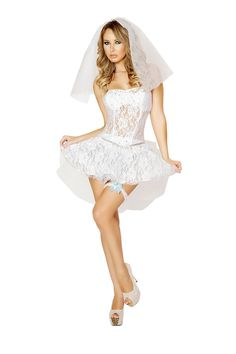4 PC Sexy Newlywed Costume includes, Lace corset top with rhinestone, lace skirt and bow, veil and garter. Poly/ Spandex.