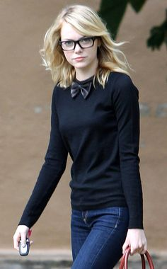 Emma Stone's (Nerdy) Street Style. It's Easy. All You Need Is A Bow Tie And Thick Rimmed Glasses!