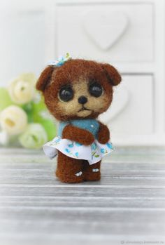 Felted Toy Susan - brown, miniature, minik, gift, toy handmade, interior toy, miniature wool