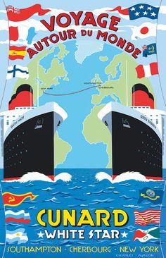 PEL313: 'Voyage Autour Du Monde - Cunard' by Charles Avalon - Vintage travel posters - Art Deco - Pullman Editions