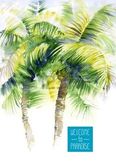 Vector design template with watercolor palms