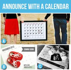 Announce with a Calendar (50 Creative Pregnancy Announcements) birth announcement. baby shoes. due date. ultrasound. pregnancy. kids.