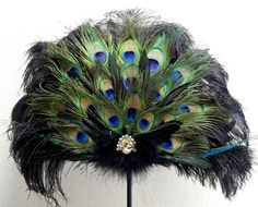 Victorian Peacock Black Ostrich Feather Fan