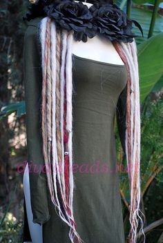 White and Amber Mixed Dread Lock Falls by Diva Dreads on Etsy