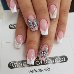 really cute glitter nail designs! you will love 20 Cute Acrylic Nails, Glitter Nails, Bridal Nail Art, Classic Nails, Butterfly Nail, Luxury Nails, Elegant Nails, Hot Nails, Square Nails