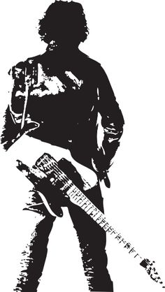 Bruce Springsteen with guitar stencil