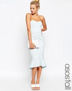 ASOS+TALL+Bandeau+Midi+Dress+with+Peplum+Hem