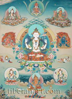 Four-armed Avalokiteshvara with Deities 65
