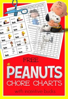 The perfect Peanuts Chore Chart with incentive cheerful attitude bucks! It's FREE!