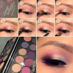 White gold and wine smokey eye tutorial with Sleek Makeup Vintage Romance palette. Asian eye makeup.