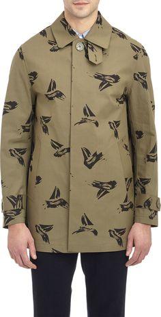 Sailboat-Print Mackintosh Jacket