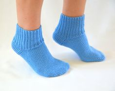 hand knit sky blue socks boot socks slippers girl by bstyle, $20.00