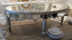 mirrored coffee table oval