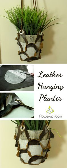 DIY Hanging Planter with leather - tutorial Leather Plant Hanger made with leather scraps.