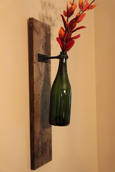 DIY wine bottle sconces