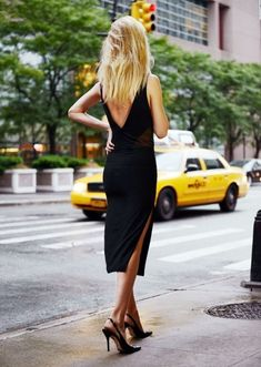 simple black dress and slingbacks