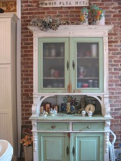 38 Beautiful Farmhouse Hutch Design Ideas To Improve Your Room White China Cabinets, Painted China Cabinets, Funky Furniture, Painted Furniture, Painted Armoire, Furniture Makeover, Furniture Ideas, Furniture Design, Kitchen Hutch
