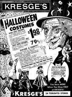 An assortment of 45 vintage Halloween advertisements from season's past. Swing by Vintage Halloween Advertisements Part II. Halloween Retro, Vintage Halloween Images, Halloween Party Costumes, Halloween Pictures, Halloween Horror, Vintage Holiday, Halloween Cards, Holidays Halloween, Happy Halloween