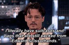 "Johnny Depp Hasn't Unpacked His Bags Since ""Edward Scissorhands"" oml johnny"