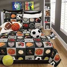 Kids' Comforter Sets - Boys Bedding Reversible Quilt and Pillow Sham Set Choice of TWIN or FULL  AllStar Sports Theme Football Basketball Baseball Soccer and Hockey FULLQUEEN 86 X 86 >>> Read more at the image link.