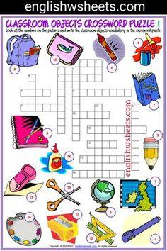 Classroom Objects Esl Printable Crossword Puzzle Worksheets For Kids #classroom #Objects #Esl #Printable #Crossword #Puzzle #Worksheets #language #arts #languagearts
