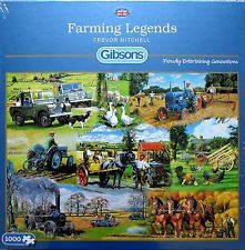 GIBSONS FARMING LEGENDS TRACTORS FARM MACHINES 1000 PIECE JIGSAW PUZZLE - NEW