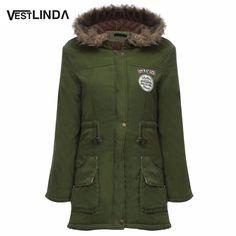 4987f5caaf5f VESTLINDA Coats Big Size Fur Hooded Warm Coat Army Green Drawstring Jackets  Coat Winter Jacket Women Warm Coats Parkas Plus Size-in Parkas from Women s  ...
