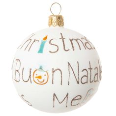 "Weihnachtskugel ""Joyeux Noël"" aus Glas 7 cm CHRISTMAS VINTAGE   - Im 6er-Set angeboten"