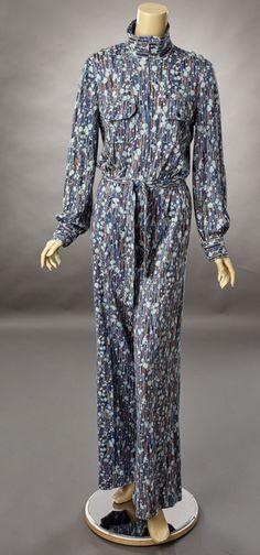 1970s Diane Von Furstenberg Paint Splatter Print Jumpsuit